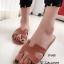 รองเท้าแตะลำลอง หนังลาย พื้นนิ่ม ตีแบรนด์Hermes (สีน้ำตาล )