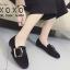 รองเท้าคัทชูส้นแบน หนังสักราจนิ่ม ด้านหน้าทรงตัวยู สไตล์วินเทจ (สีดำ ) thumbnail 4