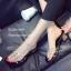 รองเท้าส้นตันสีดำ พียูใสไม่บาดเท้า แต่งเพชร (สีดำ ) thumbnail 5