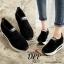 รองเท้าผ้าใบเสริมส้นสีดำ ทรงสวม แบบไม่ต้องผูกเชือก (สีดำ ) thumbnail 6