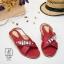 รองเท้าแตะรัดส้นสีแดง สายคาดไขว้ ประดับเพชร (สีแดง ) thumbnail 2