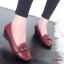 รองเท้าคัทชูส้นเตารีด หัวตัด หนังนิ่ม เรียบหรูดูดี (สีแดงเลือดหมู ) thumbnail 3