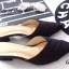 รองเท้าส้นเตี้ย หัวแหลม เปิดส้น สักหลาดนิ่ม (สีดำ ) thumbnail 4