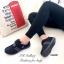 รองเท้าผ้าใบ หนังกลับ สายรัดเมจิกเทป น้ำหนักเบา (สีดำ ) thumbnail 4