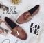 รองเท้าคัทชูส้นแบน หนังสักราจนิ่ม ด้านหน้าทรงตัวยู สไตล์วินเทจ (สีชมพู ) thumbnail 2