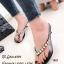 รองเท้าแตะผู้หญิง แบบคีบ ยางนิ่ม แต่งอะไหล่เพชรใหญ่ (สีดำ )
