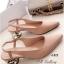 รองเท้าคัทชู หัวแหลม รัดส้น ส้นแปดเหลี่ยมสีทอง (สีครีม ) thumbnail 1