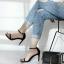 รองเท้าส้นเข็มรัดข้อสีดำ สไตล์ สวย เรียบ หรู (สีดำ )