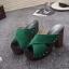 รองเท้าส้นตันเปิดส้นสีเขียว สายคาดไขว้ (สีเขียว ) thumbnail 3