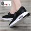 รองเท้าผ้าใบเสริมส้นสีดำ ผ้ายืดและผ้าตาข่าย สายรัดเมจิกเทป (สีดำ ) thumbnail 4