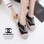 รองเท้าผ้าใบผู้หญิง ผ้าแคนวาส เพิ่มความเก๋ด้วยเชือกปอถัก STYLE CHANEL (สีดำ ) thumbnail 3