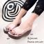 รองเท้าส้นเตารีดเปิดส้นสีเทา พียูใส พื้นผ้าพิ้มพฺลายดอกไม้ (สีเทา ) thumbnail 4