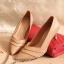 รองเท้าคัทชู ส้นสูง หัวแหลม ทรงเก็บหน้าเท้า (สีน้ำตาล ) thumbnail 1