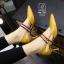 รองเท้าคัทชูส้นสูงสีเหลือง หัวแหลม เว้าข้าง (สีเหลือง ) thumbnail 2