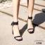 รองเท้าส้นตันรัดข้อสีดำ สายรัดข้อตอกตาไก่ (สีดำ ) thumbnail 7