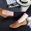 รองเท้าคัทชูส้นเตี้ย แบบผูกเชือก สักหราดนิ่ม ดูดีมีสไตล์ (สีน้ำตาล ) thumbnail 7