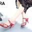 รองเท้าส้นเข็มเปิดส้นสีแดง แต่งหน้าเพชร สไตล์ ZARA (สีแดง ) thumbnail 3