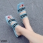 รองเท้าแตะแฟชั่นสีน้ำเงิน เปิดส้น งานสไตล์ลำลองเกร๋ๆ (น้ำเงิน )