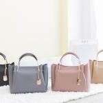 กระเป๋าหนังแท้แบรนด์ V-Jasz รุ่น Basic Metal Tote Bag หนังวัวแท้ 100% มี 4 สี เทา,ชมพู,เบจ,ดำ