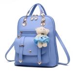 พร้อมส่ง กระเป๋าเป้สะพายหลัง และสะพายข้าง ผู้หญิง แฟชั่นเกาหลี รหัส KO-633-2 สีฟ้า 1 ใบแถมตุู๊กตาหมี