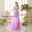 ชุดพรีเวดดิ้ง รัดรูปประดับดอกไม้-ชุดสีม่วง APD-2017-028 (Pre-Order) เกรด Premium thumbnail 3