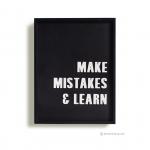 วอลล์อาร์ตตัวอักษร 3 มิติ MAKE MISTAKE & LEARN กรอบดำ