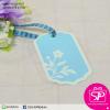 ป้ายTAG ลายดอกไม้ขอบขาว สีฟ้า ขนาด 4.2x7.5 ซม. (บรรจุแพ็คละ 50 ชิ้น)