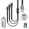 รับประกันสินค้า 1 ปี โดย Remax (Thailand) สายชาร์จ 3in1 iPhone/Micro/Type-C 1M (WDC- 010 Platinum) สีดำ
