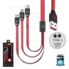 รับประกันสินค้า 1 ปี โดย Remax (Thailand) สายชาร์จ 3in1 iPhone/Micro/Type-C 1M (WDC- 010 Platinum) สีแดง