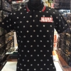 มาร์เวล เสื้อโปโล-คอปก สีดำ (Marvel Black logo white red)