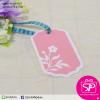 ป้ายTAG ลายดอกไม้ขอบขาว สีชมพู ขนาด 4.2x7.5 ซม. (บรรจุแพ็คละ 50 ชิ้น)