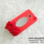 เคส Samsung J7 ดอกไม้ กระจก สีแดง