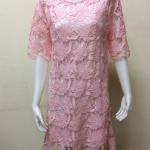 ชุดเดรสผ้าลูกไม้ สีชมพูอ่อน By YA FAG