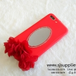 เคส iPhone 7 Plus ดอกไม้ กระจก สีแดง