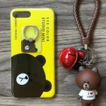 เคส iPhone 7 Plus หมีบราวน์พวงกุญแจกระดิ่ง+แหวน สีเหลือง BKK