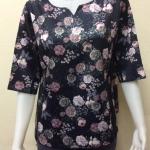 เสื้อคอแฟชั่นผ้าซาร่า By PISTA สีดำ Size 44