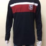 เสื้อยืดแขนยาว สีดำแถบสีแดงเลือดหมู+ขาว Size XL