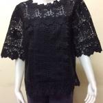 เสื้อผ้าลินินลูกไม้อย่างดี สีดำ Size 42