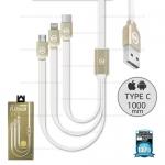 รับประกันสินค้า 1 ปี โดย Remax (Thailand) สายชาร์จ 3in1 iPhone/Micro/Type-C 1M (WDC- 010 Platinum) สีขาว