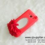เคส Samsung J2 ดอกไม้ กระจก สีแดง