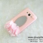 เคส Samsung J7 ดอกไม้ กระจก สีชมพู