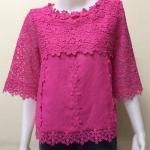 เสื้อผ้าลินินลูกไม้ สีชมพูบานเย็น Size 38