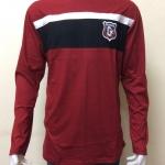 เสื้อยืดแขนยาว สีแดงเลือดหมูแถบสีดำ+ขาว Size XL