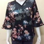 เสื้อคอวีผ้าซาร่า By PISTA สีดำ Size 44