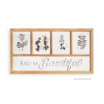 ภาพพิมพ์ลายดอกไม้และใบไม้ 4 ช่อง พร้อมตัวหนังสือ LIFE IS BEAUTIFUL