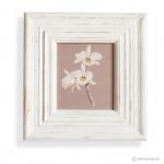 วอลล์อาร์ตพิมพ์ลายดอกไม้ กรอบบัวสีขาว