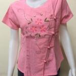 เสื้อผ้าฝ้ายพื้นเมืองภาคเหนือ สีชมพูอ่อน(ดอกสีชมพูเข้ม)