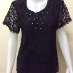 เสื้อผ้าลูกไม้แขนสั้น สีดำ By 123ok fashion