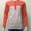 เสื้อยืดแขนยาวคอกลม สีส้ม+ครีม ลายขวาง thumbnail 1
