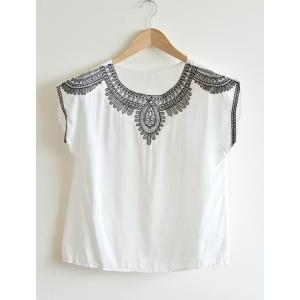 """Ethnic Embroidery Loose Blouse (Bust up to 39"""")"""